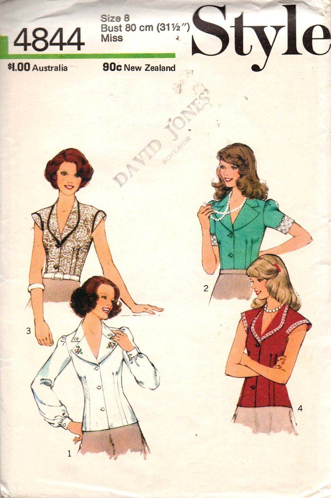 Style 4844 Womens Boho Blouses 1970s Vintage Sewing Pattern Size 8 ...