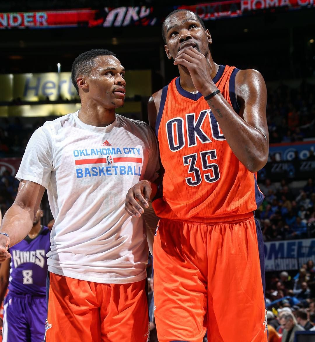 """""""Sunset Sunday win in OKC. Westbrook triple-double (19p-11r-10a) Durant double-double (20p-10)"""""""