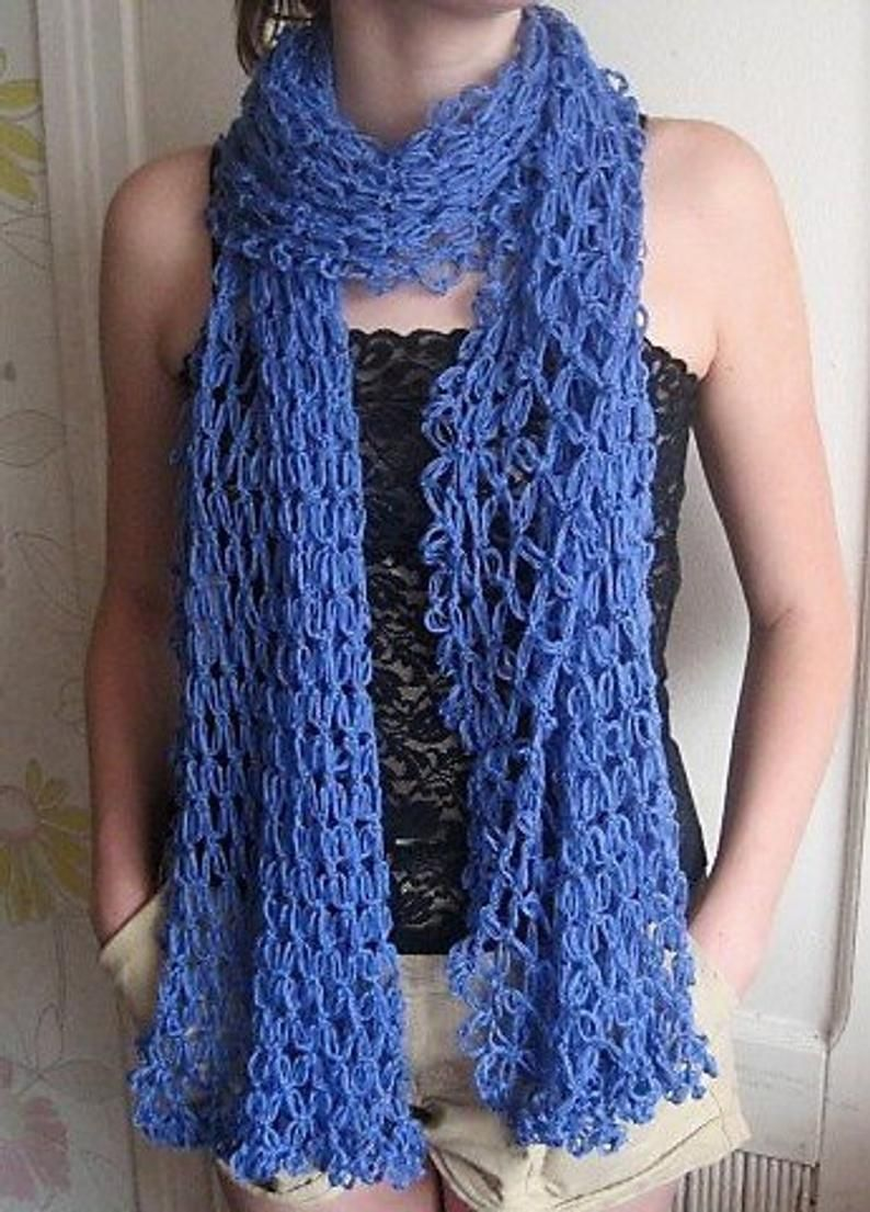 Extra long scarf hand knit summer blue scarf wrap ...