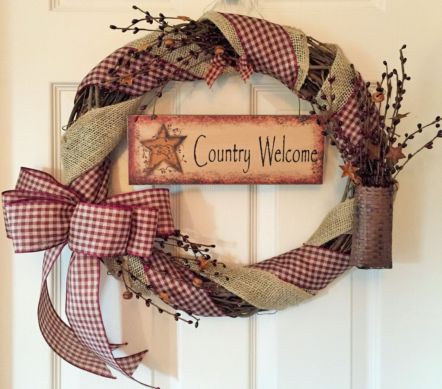 Grapevine wreath with burlap and gingham ribbon primitive wreath grapevine wreath with burlap and gingham ribbon welcome wreath front door wreath by chewsiecreations on etsy rubansaba