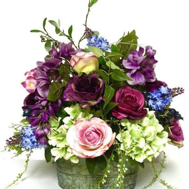 Silk floral arrangement floral centerpiece shades of purple pink silk floral arrangement floral centerpiece shades of purple pink lime blue yellow rose hydrangea peony iris wisteria in tin oval bas mightylinksfo