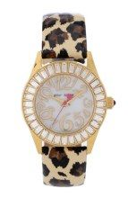 Betsey Johnson Baguette Crystal Bezel Leopard Strap Watch, 34mm gifters.com betsey johnson watches