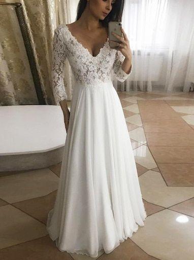#Ärmeln #Brautkleider #Chiffon #Lange #mit #Strandhochzeitskleid Long Chiffon Wedding Dresses with Sleeves,Beach Wedding Dress,11951        Lange Chiffon Brautkleider mit Ärmeln, Simple Beach Wedding Dress Modest, 11951 #lacechiffon