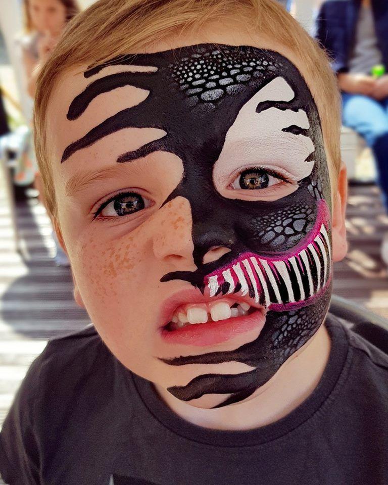 Venom face paint | Аквагрим | Фейс арт, Детский грим и ...