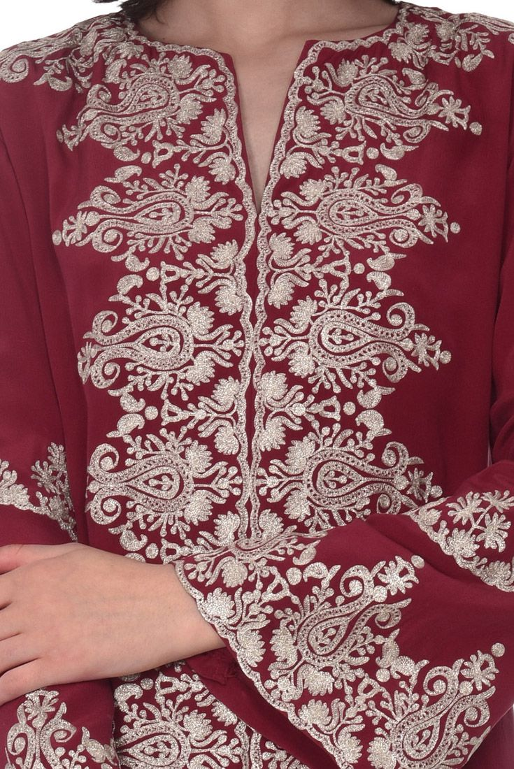 Loose Dress Baby Pink color embroidered silk cashmiri  Kaftan