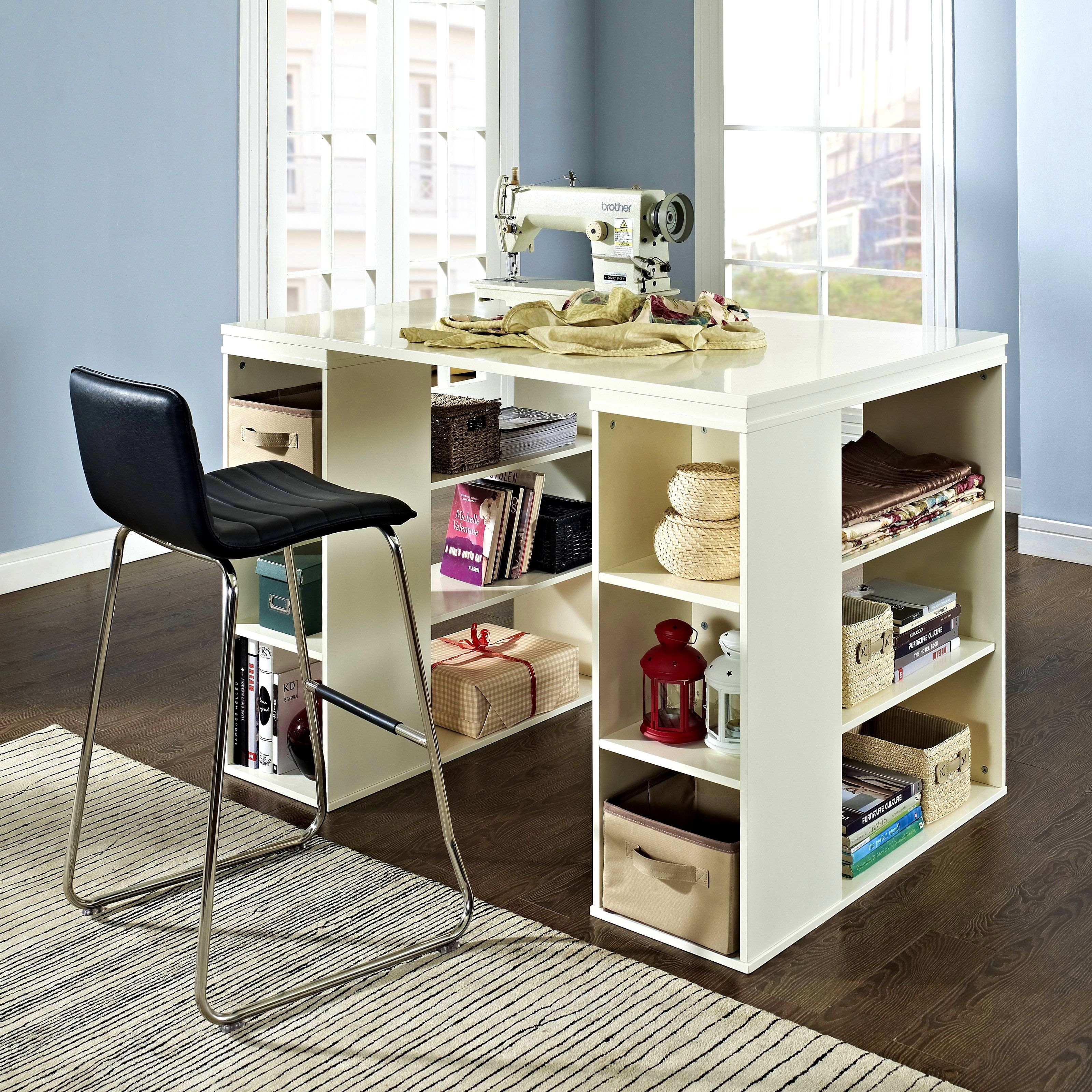 Bathroomappealing Sullivan Counter Height Craft Table Vanilla Sewing Furniture Tall Storage Masteralz Craft Tables With Storage Sewing Desk Counter Height Desk