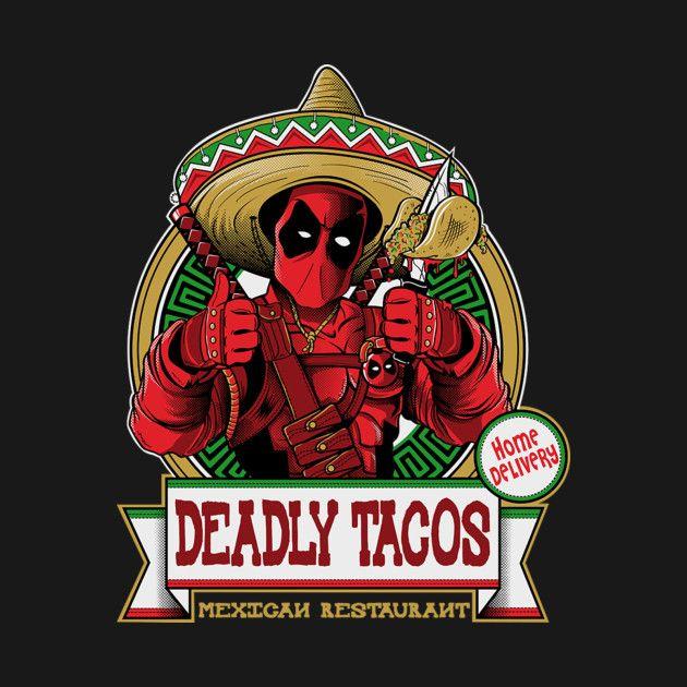 Deadpool chimichanga taco camiseta marvel comics, camiseta
