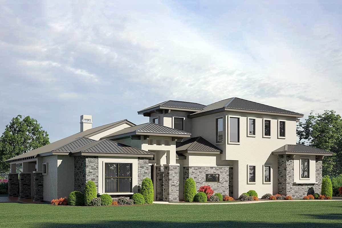 Plan 430038ly Contemporary 3 Bedroom Stone And Stucco Home Plan With Private Study In 2021 Stone Exterior Houses Stucco Homes Stucco And Stone Exterior