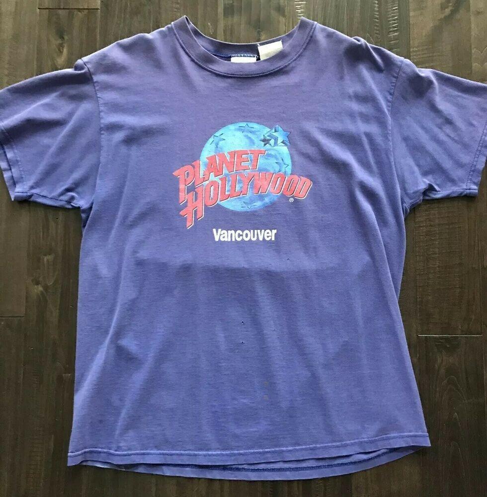 Vintage Planet Hollywood Vancouver Mens Large Purple Tee Shirt Retro 90s Round Fashion Clothing Shoes Accessories Mensclot Shirts Tee Shirts Mens Shirts