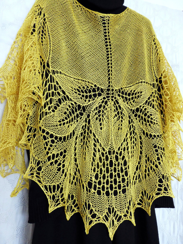 Silk lace knit shawl. Hand knitted wedding wrap. Lace ...