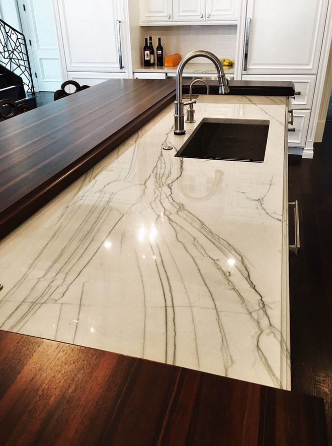 island countertop combination wood and stone