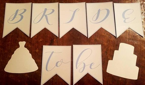 Photo of Wedding or bridal party banner | Bride to Be wedding dress cake Decorations | bachelorette party | festive flag periwinkle white banners