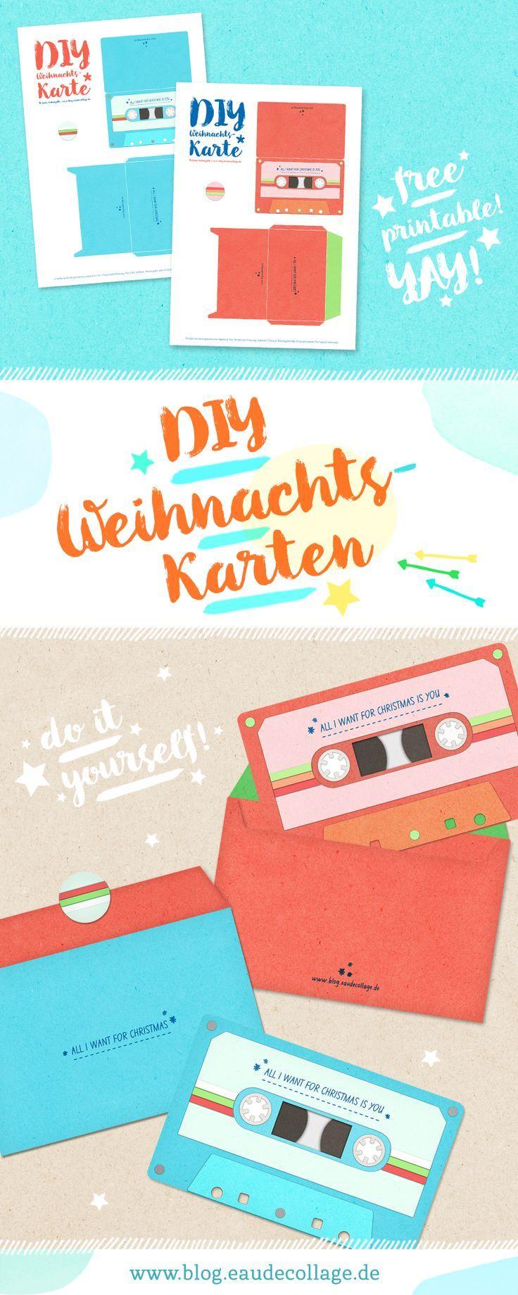 Verführerisch Weihnachtskarten Selber Basteln Vorlagen Kostenlos Beste Wahl Diy Weihnachtskarte Retro-kassette *free Printable | Inspiration