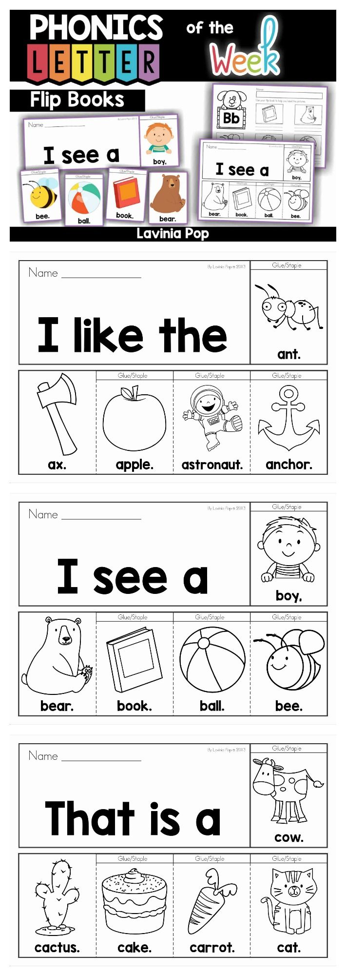 Sight Words and Beginning Sounds Flip Books with Writing Activities ...