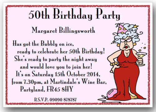 Funny Invitation Cards Birthday order request text 30 40 50 60 70 80