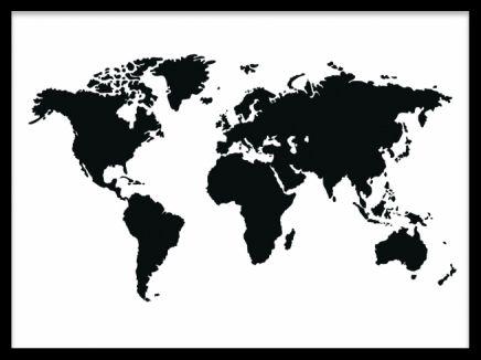 tavla världskarta svart vit