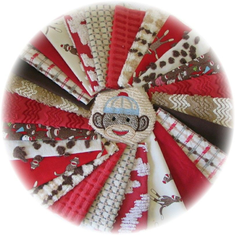 Vintage Chenille Bedspread Sock Monkey Quilt Squares Kit 64pc ... : sock monkey quilt kit - Adamdwight.com