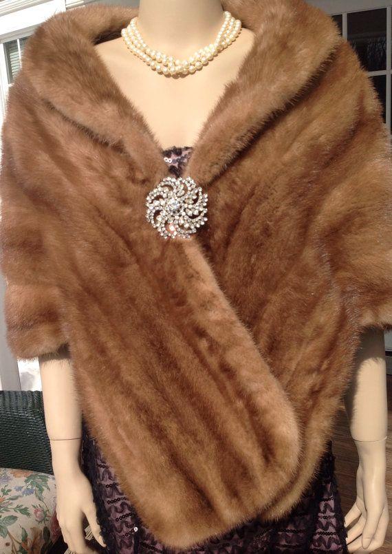 9e22edf97 Vintage Autumn Haze Mink Stole, Bridal Mink Cape, Brown Mink Wrap, 1960s Fur  Stole, Wedding Coat, Womens Fur Stole, Winter Cape