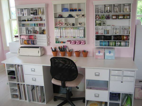 Great Use Of Wall Space In Craft Or Sewing Room. {[Like The Style Of Storage,  Not Necessarily The Craft Bit.