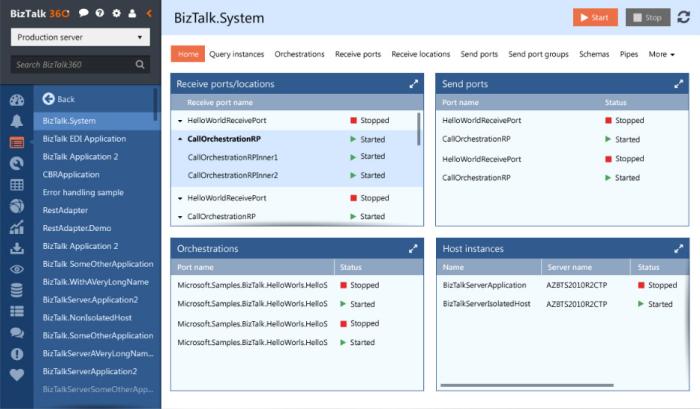 BizTalk360 HTML5 UI - Design First Blue Version | Tree view ...