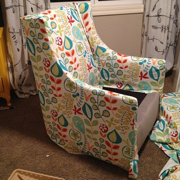 slipcover in progress for baby room west elm graham glider nursery fantasy forest. Black Bedroom Furniture Sets. Home Design Ideas