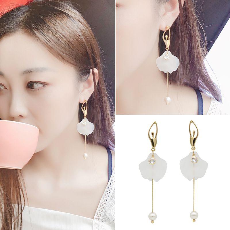 925 Sterling Silver Pearl Pentagram Star Pendant Ear Line Earrings For Women