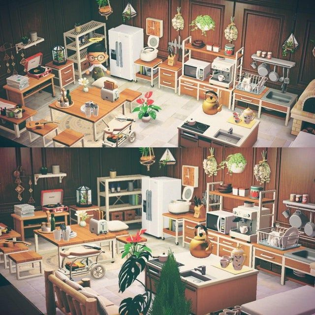 my completed ironwood kitchen! - AnimalCrossing in 2020 ... on Animal Crossing Kitchen Island  id=91708
