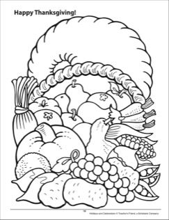 Happy Thanksgiving! Holidays and Celebrations Coloring Page
