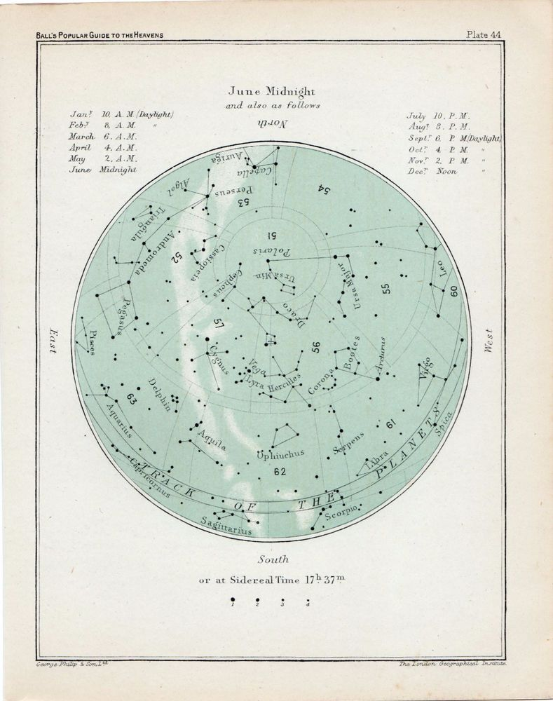 ANTIQUE PRINT VINTAGE C1900 ASTRONOMY STAR MAP