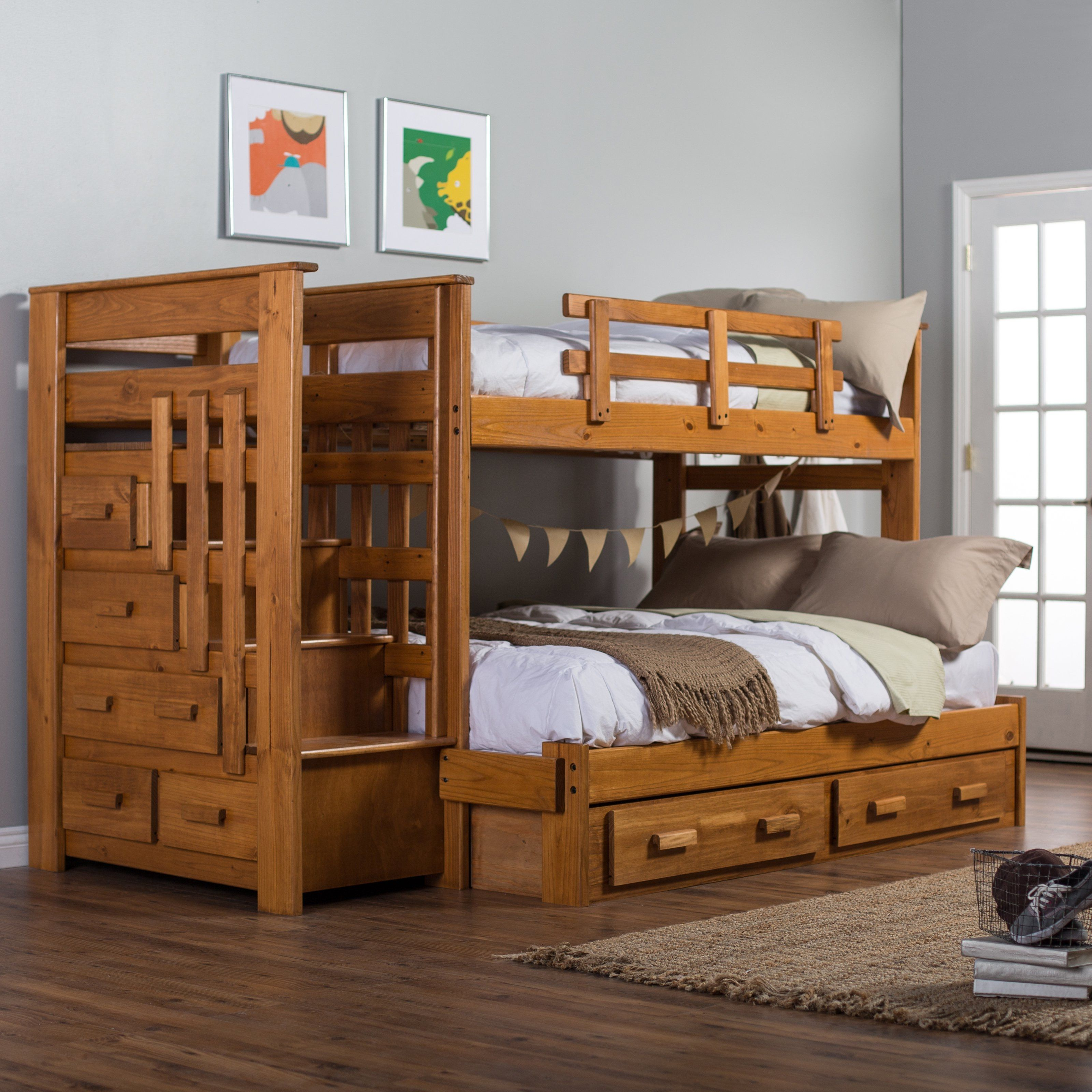 Twin Over Full Bunk Bed With Stairway Storage Drawers | http ...