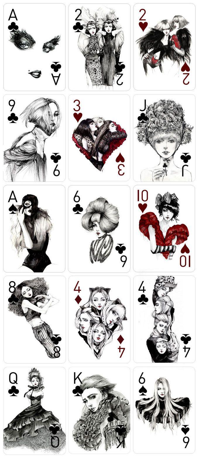 As Cartas Inspiradas Em Moda E Mulheres Por Connie Lim Playing Cards Art Playing Cards Design Hand Illustration