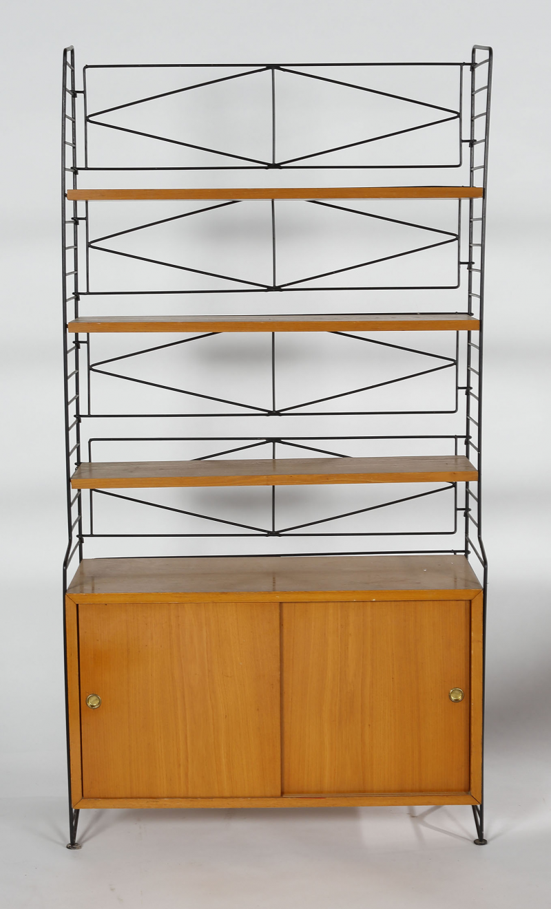 Nisse Strinning; Oak and Enameled Metal Bookcase, 1950s.   store ...