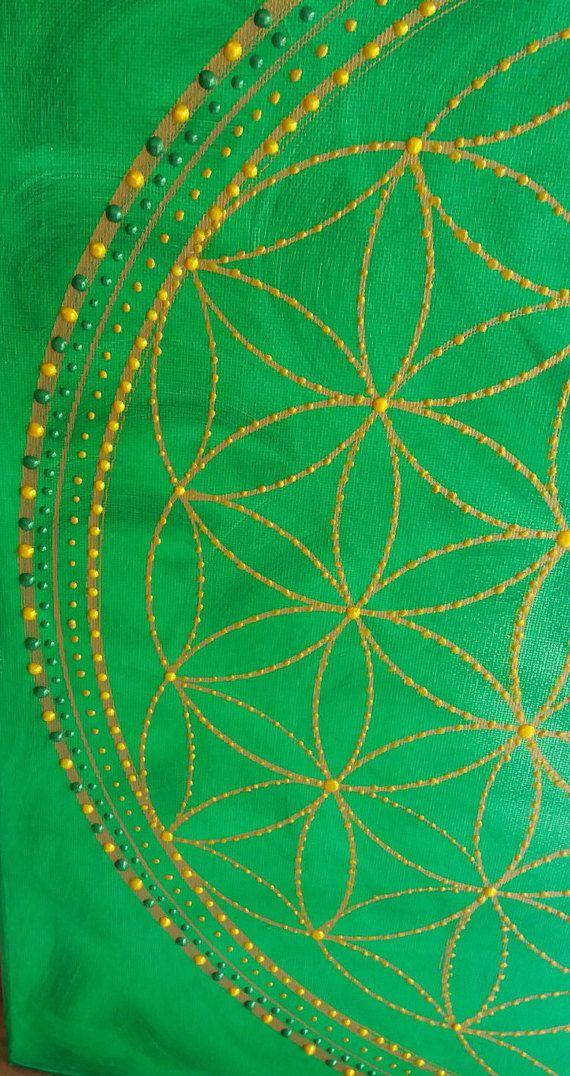 Image Mural Mandala Flower Of Life Art Painting Acrylic Sacred Geometry Green Gold Symbol Gift Energy Enchanting Blume Des Lebens Mandala Blume Des Lebens Blume Des Lebens Bild