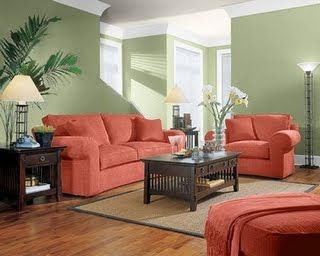This living space is a complementary color scheme because - What colors compliment sage green ...