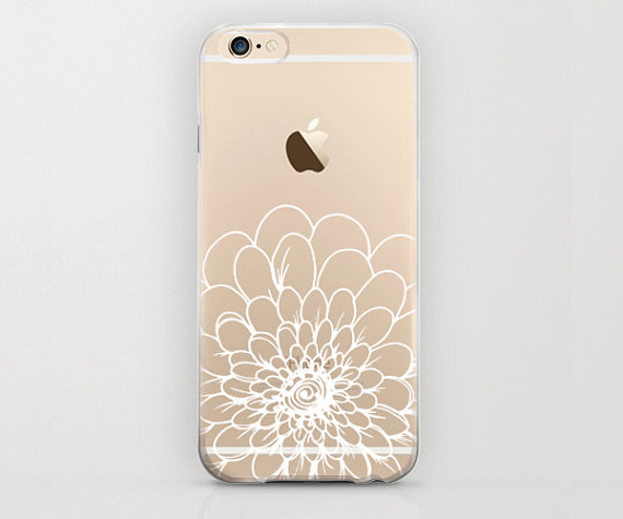 Large White Flower Iphone 6 Case Clear Graphic Half Of Hard Shell