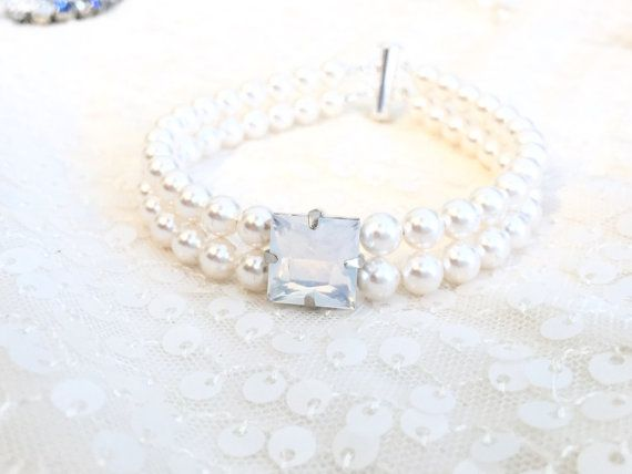 Square Focal Two Strand Pearl Bracelet #bridal #wedding #weddings #bridalaccessories #pearlcuff #swarovski #swarovskibridal #pearljewelry #weddingjewelry