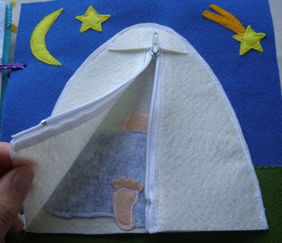 Quiet Book Page / C&ing- Tent with Zipper / Felt Activity Book / Personalized Quiet Book / Toddler Quiet Book / Fine Motor Skills & Quiet Book Page / Camping- Tent with Zipper / Felt Activity Book ...