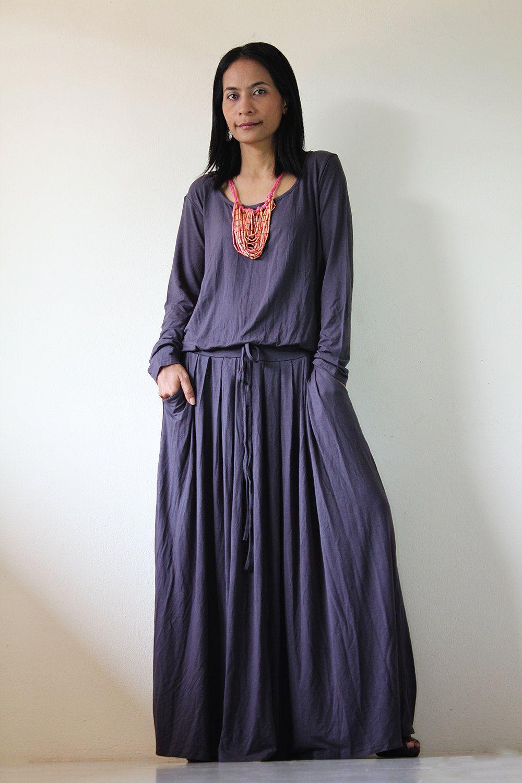 Long maxi dress grey long sleeve dress fall and winter