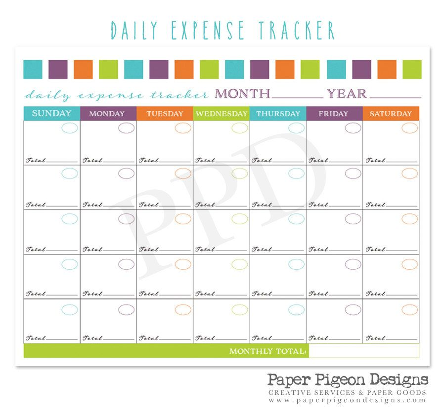 Perpetual Calendar  Daily Expense TrackerBlank Expense Tracker