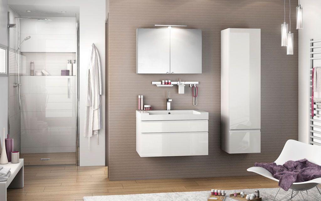 Meuble de salle de bain  colonne Inspiration NT80D blanc brillant