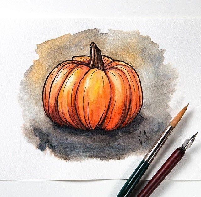 Watercolor Pumpkin Autumn Art Pumpkin Drawing Watercolor Art