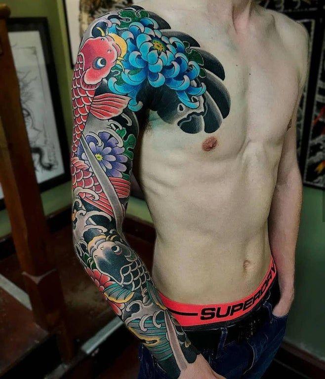 My Koi Sleeve from Deneka at Black Garden Tattoo, London