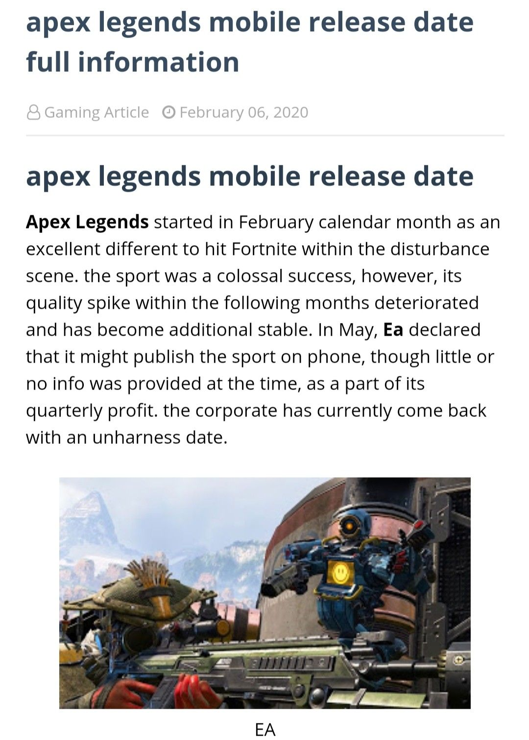 Apex legends mobile released date in 2020 Release date