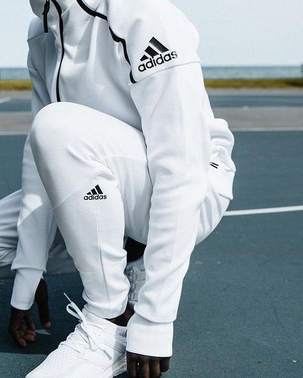 All White Adidas Jog Set #hypebeast #supreme #streetwear