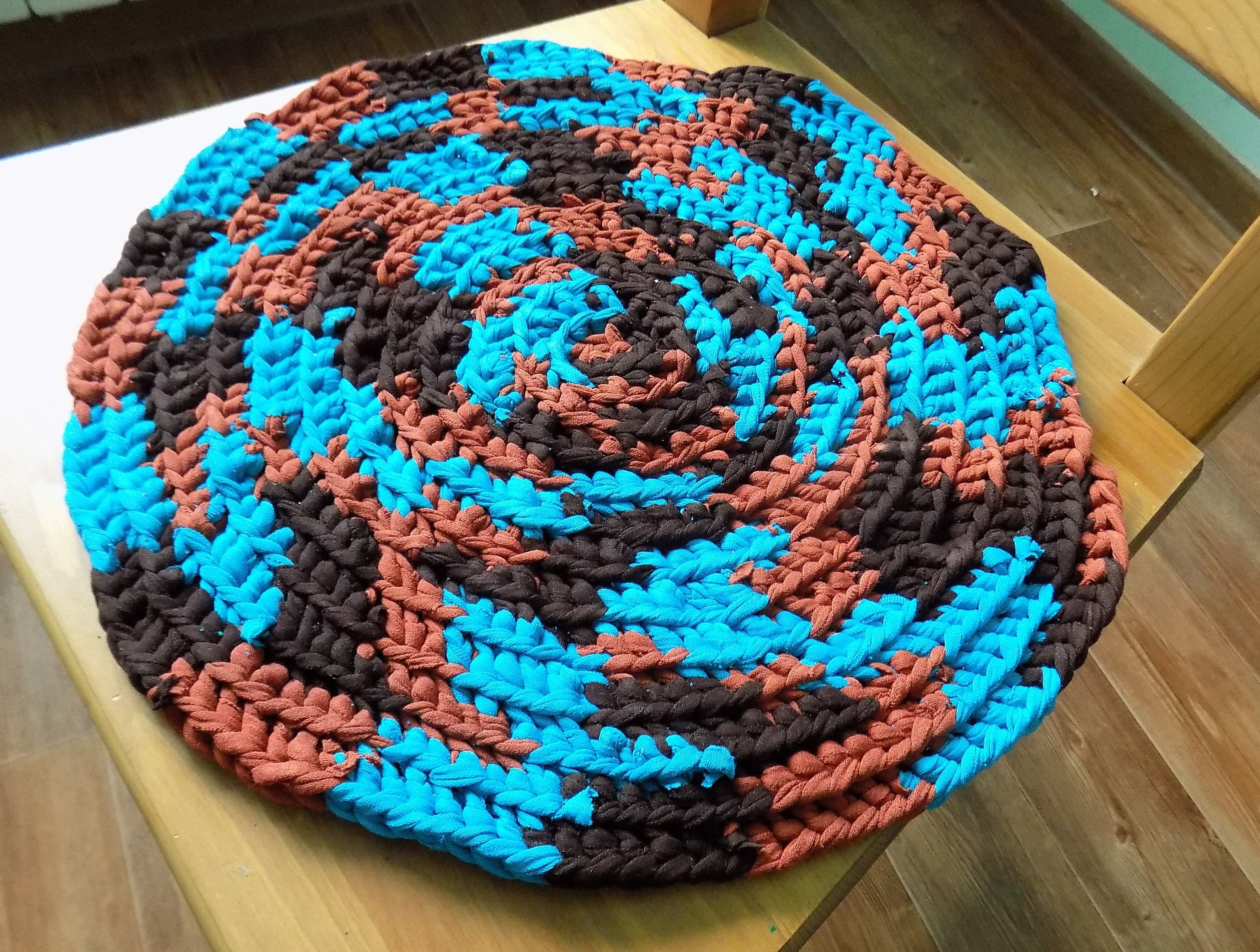 Superb Round Placemat Blue Crochet Seat Cover Brown Crochet Handmade Mat, Play Mat,  Small Rag