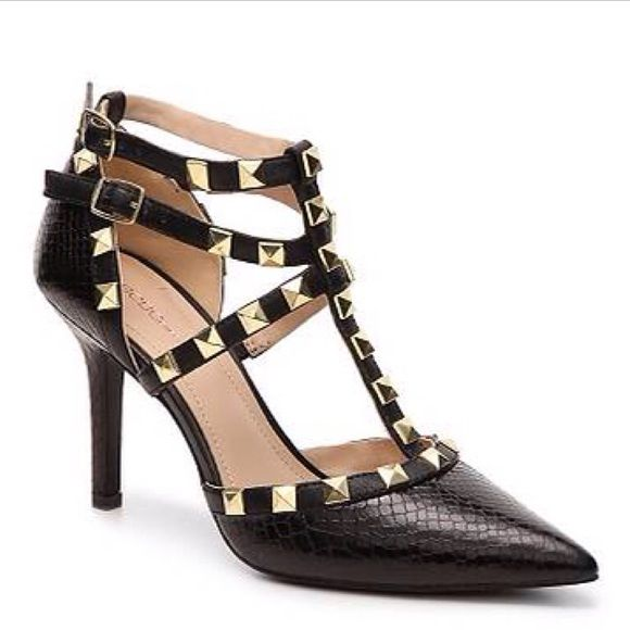c672a770d336 BCBGeneration Black Studded Snake Embossed Pump So amazing! Leather   faux  leather snake embossed leather upper. Triple t-strap with adjustable buc…