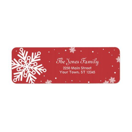 12 Days Of Christmas Gifts For Boyfriend: Snowflake Return Address Label - Red