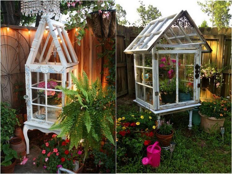 serres DIY de style vintage fabriquées de vieilles fenêtres en tant que déco de jardin