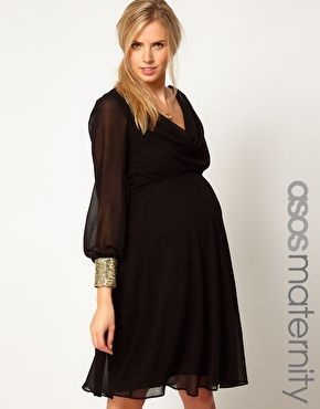 6e94087ef Enlarge ASOS Maternity Midi Dress With Cowl Back And Embellished Cuffs