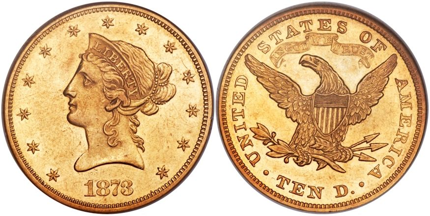 1873 10 Gold Closed 3 Au58 Ngc Sold For 49 350 At The Heritage Auctions Fun Show U S Coins Signature Sale In Fort Lau Coins Coins Worth Money American Coins